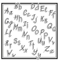 Hand cut alphabet sticker set white color school vector image