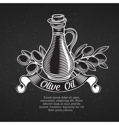 Hand drawn decorative label with a bottle of oil vector image