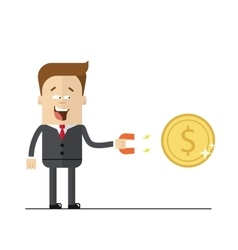 Happy businessman with a magnet to attract money vector image