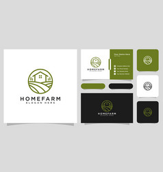 house farm logo design line style and business vector image