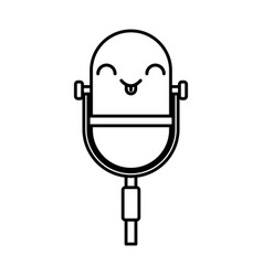 Kawaii vintage microphone cartoon vector