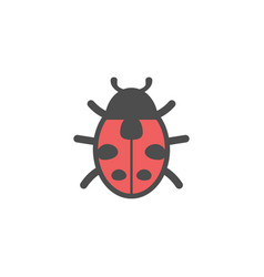 ladybug insect colorful icon nature simple vector image