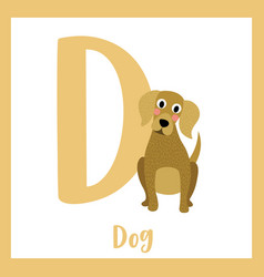 Letter d vocabulary sitting dog vector