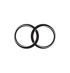 Linked 3d circle ring symbol logo vector