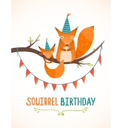 Little Squirrel and Mother Birthday Greeting Card vector
