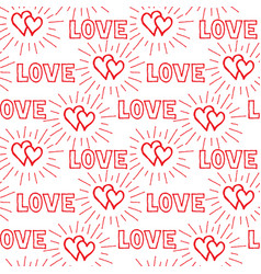 love hearts and handwritten lettering vector image