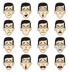 Man face with eyeglasses emoji vector