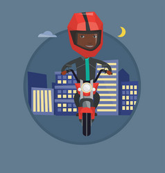 Man riding motorbike at night vector
