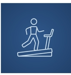 Man running on treadmill line icon vector image
