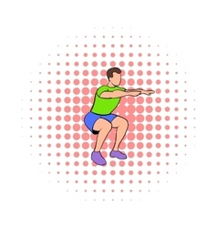 Men doing squats icon comics style vector