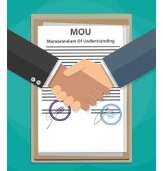 MOU memorandum of understanding handshake vector