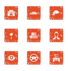 municipal economy icons set grunge style vector image
