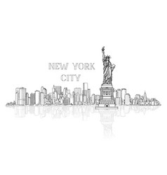 New york usa skyline background city silhouette vector