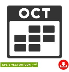 October calendar grid eps icon vector