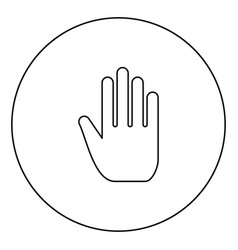 open human hand black icon outline in circle image vector image
