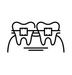 Orthodontist therapy line icon concept sign vector
