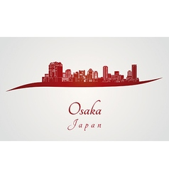 Osaka skyline in red vector image
