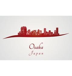 Osaka skyline in red vector