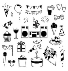Party icons funny birthday disco music party vector