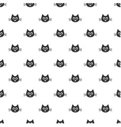 pattern with cute black cat heads vector image