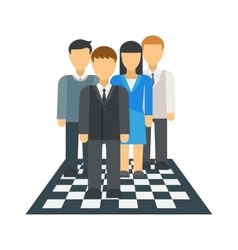 People on chessboard vector