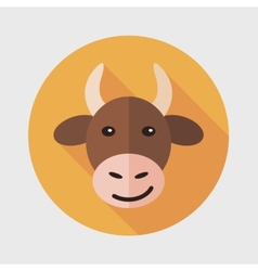 Pet cow flat icon with long shadow vector