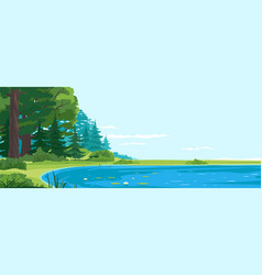 Place for fishing on lake nature landscape vector