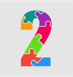 puzzle jigsaw figure or number - 2 gigsaw vector image