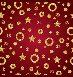 red christmas background with golden glittering vector image