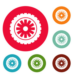 Rubber protector icons circle set vector