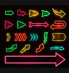 set colorful neon arrows and pointers vector image