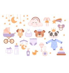 set cute boho baby objects in scandinavian vector image