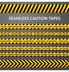 Set of black and yellow seamless caution tapes vector