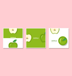 set of fruit banners with apple in paper art style vector image