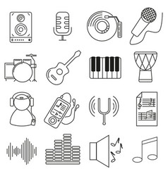 set of icons in line style musical instruments vector image