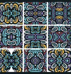 Set of seamless patterns in ethnic style vector