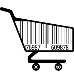 Shopping cart with ar code vector image