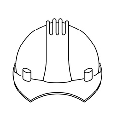 Silhouette construction safety helmet icon vector