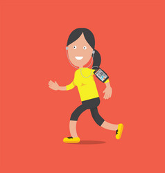 smiling female character standing and running vector image