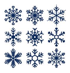 snowflakes icons set snowflakes texture vector image