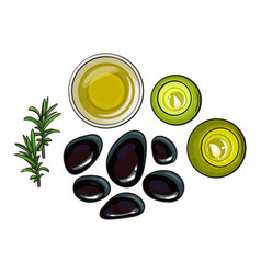 spa set - basalt stones massage oil towel vector image