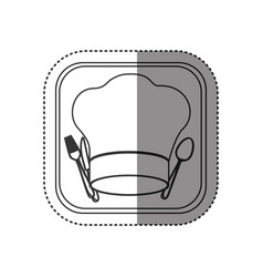 Sticker of monochrome rounded square with chef hat vector