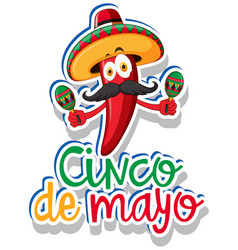 Sticker template for cinco de mayo with red chili vector