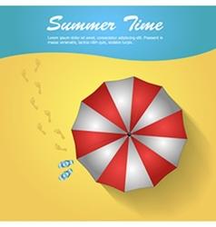 Sunshade and flip-flops on the beach vector