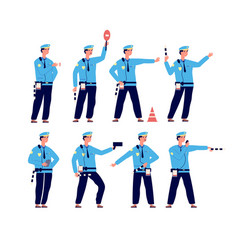 Traffic police road security traffic control vector