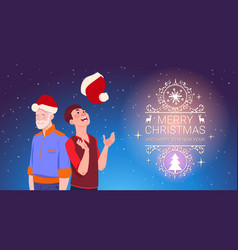 two men wearing santa hats christmas and new year vector image