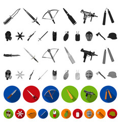 types of weapons flat icons in set collection for vector image