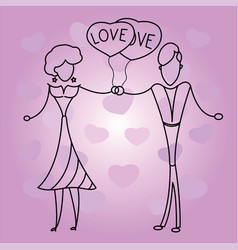 valentine card with happy lovers vector image