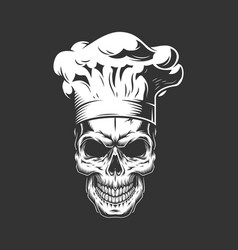 Vintage monochrome skull in chef hat vector