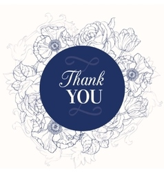 Vintage Navy Blue Vintage Floral Drawing vector image
